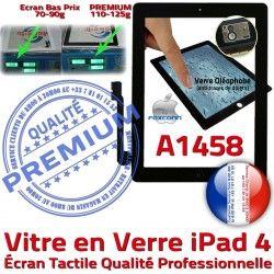 Noir iPad4 Bouton Qualité Apple Ecran iPad A1458 Caméra Vitre Remplacement Tactile Adhésif PREMIUM Verre HOME Precollé Fixation 4 Oléophobe