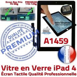 Tactile 4 Precollé Fixation Apple Caméra Qualité A1459 Adhésif Vitre Ecran iPad Oléophobe Remplacement Noir iPad4 PREMIUM Bouton Verre HOME