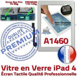 Tactile Verre Vitre Fixation HOME A1460 Adhésif Oléophobe 4 PREMIUM Remplacement Qualité iPad4 Ecran Bouton iPad Apple Caméra Precollé Blanc