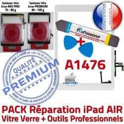 Verre Tactile iPad B Bouton Nappe AIR Vitre KIT Precollé Outils PACK PREMIUM A1476 Adhésif Qualité Blanche HOME Réparation Oléophobe