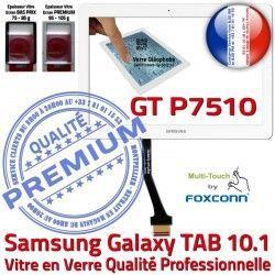 Blanche Verre TAB LCD Vitre P7510 Supérieure 10.1 Tactile GT-P7510 Samsung GT Assemblée Galaxy Qualité B 10 Adhésif en Ecran PREMIUM Prémonté