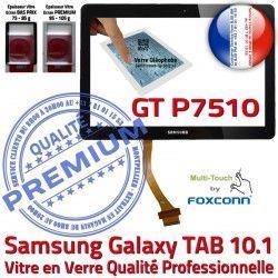Prémonté Assemblée N 10 Supérieure Samsung en LCD Ecran Galaxy Adhésif Qualité GT 10.1 Noire TAB PREMIUM GT-P7510 Vitre Verre P7510 Tactile