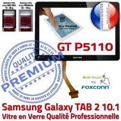 Galaxy Supérieure 10.1 Prémonté GT Vitre LCD P5110 Adhésif Assemblée 2 Verre Qualité GT-P5110 en TAB2 N Noire Tactile TAB Samsung PREMIUM Ecran