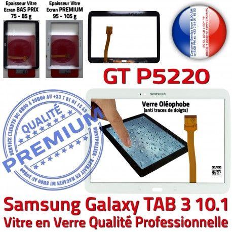 Samsung Galaxy GT-P5220 Tab3 B Tactile TAB3 Assemblée 10.1 Prémonté en Ecran LCD Adhésif Verre Qualité PREMIUM Vitre Blanche Supérieure