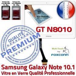 10.1 NOTE LCD Blanche en GT N8010 Supérieure Qualité Verre PREMIUM Vitre Samsung Ecran Galaxy B Prémonté Adhésif Tactile GT-N8010 Assemblée