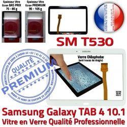 Prémonté Adhésif en Ecran SM-T530 Qualité PREMIUM Blanche Vitre Tab4 Assemblée Galaxy Supérieure TAB4 Samsung Verre LCD 10.1 Tactile B