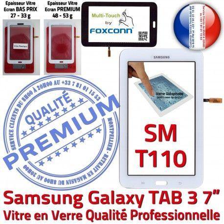 SM-T110 LITE Tab3 Blanc SM PREMIUM LCD Vitre en Verre Qualité Samsung Galaxy T110 Tactile Supérieure Ecran TAB3 Prémonté Adhésif Assemblée Blanche