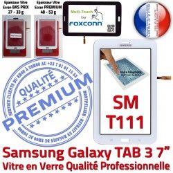 Samsung LITE Tactile Galaxy LCD Vitre Qualité TAB3 Verre en Blanc Adhésif PREMIUM Supérieure Assemblée Blanche T111 SM Prémonté SM-T111 Ecran Tab3