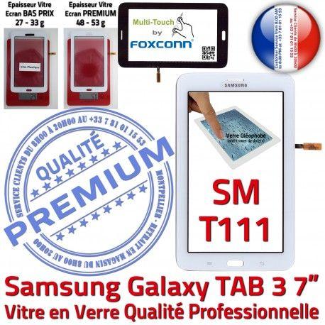 TAB3 LITE SM T111 Blanc Tactile en SM-T111 Assemblée Verre Prémonté Ecran LCD Galaxy Samsung Blanche Qualité Vitre Supérieure PREMIUM Adhésif