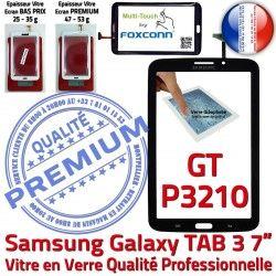 Supérieure Galaxy Prémonté Samsung Adhésif Tab3 TAB3 Ecran Verre Tactile Noire Qualité 7 Vitre PREMIUM Assemblée GT-P3210 LCD en N