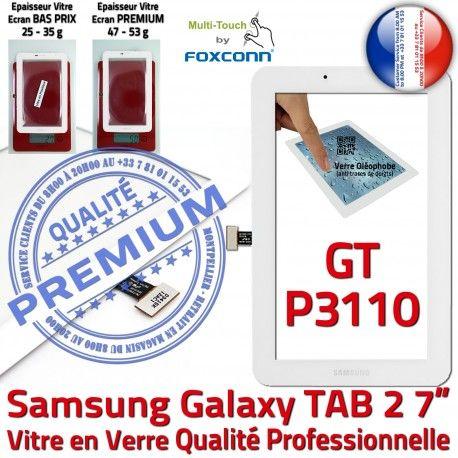 GT-P3110 TAB2 Blanc Samsung Blanche 2 Qualité Ecran Adhésif P3110 Supérieure Prémonté 7 TAB GT inch Assemblée LCD Tactile Galaxy PREMIUM Vitre Verre