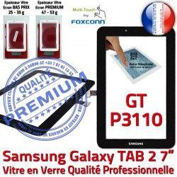 7 Galaxy TAB2 PREMIUM Prémonté Samsung GT-P3110 GT Qualité Noir Vitre Verre Noire P3110 Tactile LCD Supérieure Assemblée en inch Ecran Adhésif