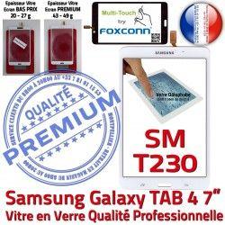 LCD Qualité B Galaxy Verre SM-T230NZWAXEF PREMIUM TAB4 Samsung Adhésif Ecran Vitre Assemblée Prémonté Blanche Supérieure Tactile