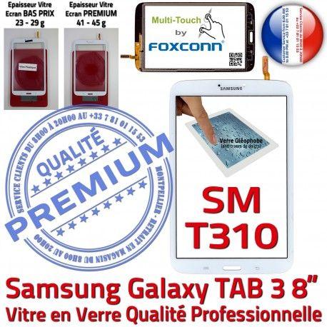 Samsung Galaxy TAB 3 SM-T310 B Tactile Assemblée Supérieure en à 8 Blanche SM Verre Qualité Prémonté TAB3 inch T310 Ecran Coller PREMIUM Vitre