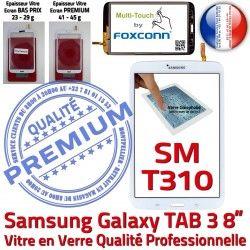 Prémonté Verre en Supérieure Coller Samsung 8 TAB3 Qualité PREMIUM pouces Vitre SM-T310 Ecran Blanche Galaxy B Assemblée à Tactile