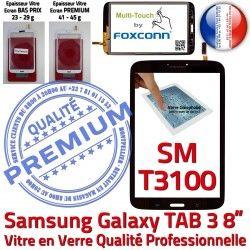 Verre inch TAB3 Samsung 3 Supérieure SM-T3100 à N en Qualité Galaxy Assemblée T3100 PREMIUM Prémonté Tactile SM Coller 8 Noire TAB Ecran Vitre