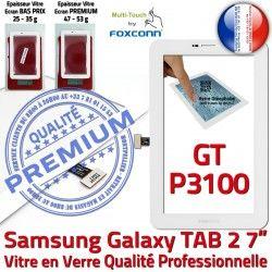 Assemblée Vitre LCD Galaxy TAB2 Blanche GT P3100 Ecran Supérieure Adhésif PREMIUM 7 Prémonté Tactile inch Blanc Verre Qualité Samsung GT-P3100