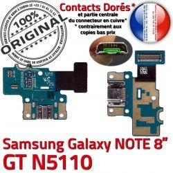 Doré de Samsung N5110 Charge Chargeur C Contacts USB ORIGINAL Nappe Galaxy GT-N5110 GT Réparation OFFICIELLE Connecteur Micro NOTE Qualité