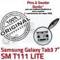 Samsung Galaxy Tab 3 T111 USB Prise Dock souder Chargeur à TAB Pins Micro Dorés Connecteur Connector de inch charge 7 ORIGINAL SM