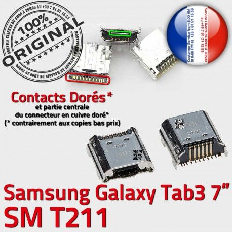 Samsung Galaxy Tab 3 T211 USB Connecteur Prise TAB inch 7 à Micro ORIGINAL Connector de Dorés charge SM souder Pins Chargeur Dock