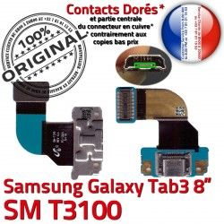 SM Ch Dorés Contacts TAB3 Qualité Nappe Samsung Chargeur 3 ORIGINAL Charge de MicroUSB OFFICIELLE SM-T3100 T3100 Réparation TAB Galaxy Connecteur