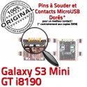 Samsung Galaxy S3 Min GT i8190 C Dock Flex Connecteur Micro Chargeur charge de à Connector Mini souder USB ORIGINAL Prise Dorés Pins