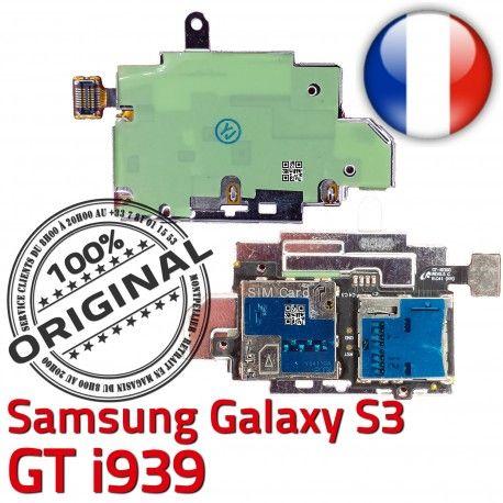 Samsung Galaxy S3 GT i939 S Lecteur Connector SIM Contacts Reader Nappe Micro-SD Carte Dorés ORIGINAL Connecteur Qualité Memoire