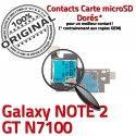 Samsung Galaxy NOTE 2 GT-N7100 S ORIGINAL SIM Memoire Nappe Contact Lecteur Doré Qualité Connector SD Connecteur Reader Carte