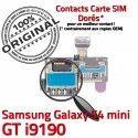 Samsung Galaxy S4 min GT i9190 S Memoire SIM Contacts ORIGINAL Nappe mini Lecteur Micro-SD Carte Reader Connector Dorés Connecteur