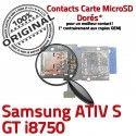 Samsung ATIV S GT i8750 Qualité Connector Carte ORIGINAL Memoire Contacts SIM Micro-SD Dorés Connecteur Reader Lecteur Nappe
