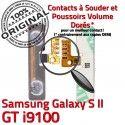 Samsung Galaxy S2 GT i9100 V Son Nappe Dorés Circuit Connecteur à Bouton souder Contacts 2 Volume Connector ORIGINAL Switch Pins OR S SLOT