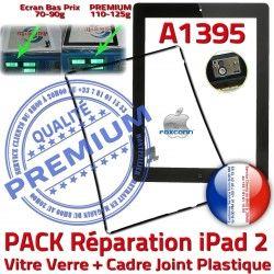 KIT N Precollé Verre iPad2 2 Tactile Vitre Noire iPad PREMIUM HOME Joint Réparation PACK Chassis Apple Cadre Adhésif Tablette Bouton A1395