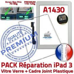 iPad3 Bouton Tactile Tablette A1430 Réparation Precollée Adhésif Contour B Joint Vitre iPad PREMIUM Apple PACK 3 Blanche HOME Verre Cadre