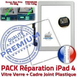 iPad4 HOME B Cadre Tactile Joint Apple Verre PACK Blanche Tablette Contour Réparation KIT PREMIUM Bouton Adhésif Vitre Precollée