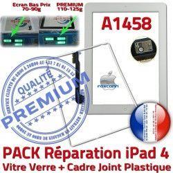 Vitre Apple B iPad PACK Verre A1458 Blanche Tactile HOME Adhésif Réparation 4 Cadre Tablette Contour PREMIUM Bouton Joint iPad4 Precollée
