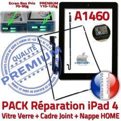 N Nappe Joint KIT Bouton HOME Contour Noire Cadre iPad4 Tablette Vitre PACK Apple Tactile Verre Adhésif Plastique A1460 Réparation Precollé