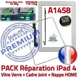 Vitre KIT Plastique PACK Adhésif A1458 HOME Nappe Verre B Contour Tactile Joint Blanche Réparation Precollé iPad4 Cadre Tablette Apple Bouton
