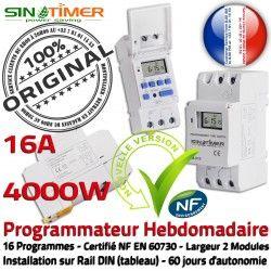 Tableau 16 Automatique Minuterie électrique Rail Horloge Programmation Digitale Journalière 4kW 16A Programmes Electronique DIN SINOTimer