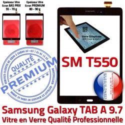 Vitre Qualité Samsung Noir PREMIUM Assemblé Verre N Supérieure T550 Adhésif SM SM-T550 Noire TAB-A Tactile Ecran Assemblée 9.7 Galaxy