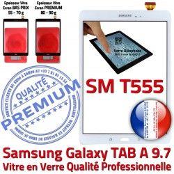 Qualité Tactile Adhésif B TAB-A SM-T555 Vitre PREMIUM SM Samsung 9.7 Blanche Ecran Assemblée Galaxy T555 Blanc Verre Supérieure Assemblé