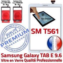 9.6 Qualité E Assemblée Tactile TAB Ecran TAB-E SM-T561 Adhésif Prémonté Supérieure T561 Samsung Vitre PREMIUM Blanche Verre Galaxy Blanc SM B