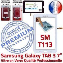 Galaxy Supérieure Tactile 7 Vitre Blanche Verre en B Prémonté PREMIUM LCD Samsung TAB3 Adhésif SM-T113 Qualité Tab3 Ecran Assemblée