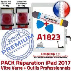 Precollé A1823 iPad Nappe KIT Adhésif Qualité Réparation Oléophobe PACK PREMIUM Verre Bouton Blanche AIR Tactile Vitre B Outils HOME
