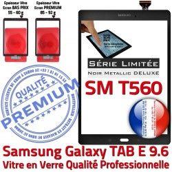Tactile Galaxy N T560 Metal SM Vitre 9.6 Adhésif Ecran TAB-E Samsung Noir SM-T560 Verre Qualité Noire Metallic PREMIUM Assemblé Assemblée
