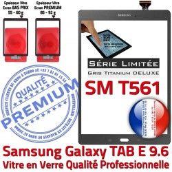 Galaxy Assemblée SM-T561 Samsung Limitée 9.6 PREMIUM Ecran Ant Adhésif Gris Anthracite Verre Qualité Vitre SM TAB-E Série T561 Tactile